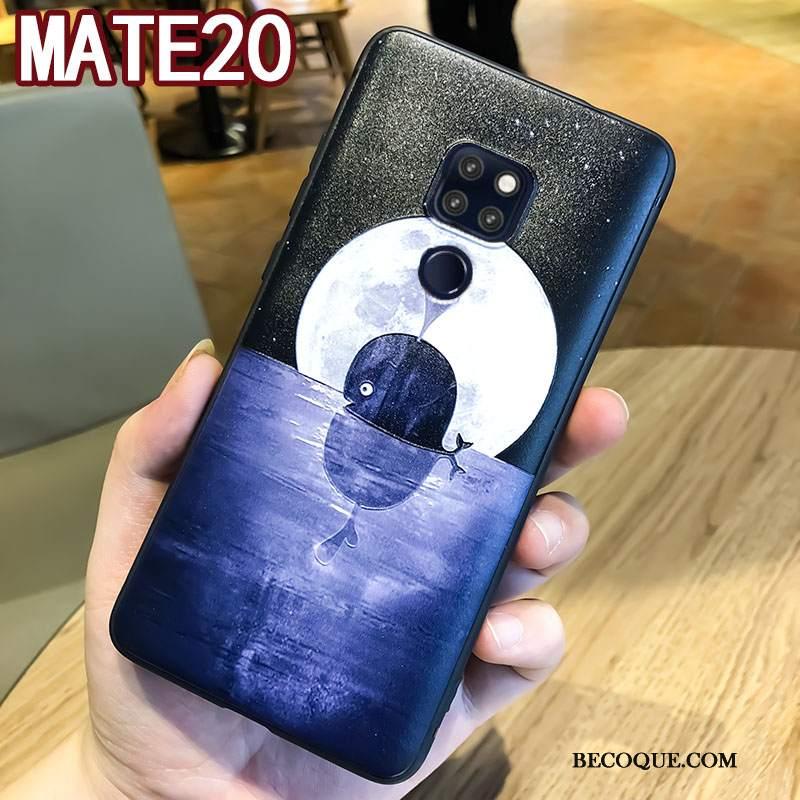 Futerał Huawei Mate 20 Relief Modna Marka Niebieski, Etui Huawei Mate 20 Torby Wiszące Ozdoby Anti-fall