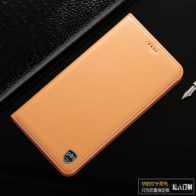 Futerał Samsung Galaxy A80 Skóra Żółty Wzór, Etui Samsung Galaxy A80 Pokrowce Bydło Biznes