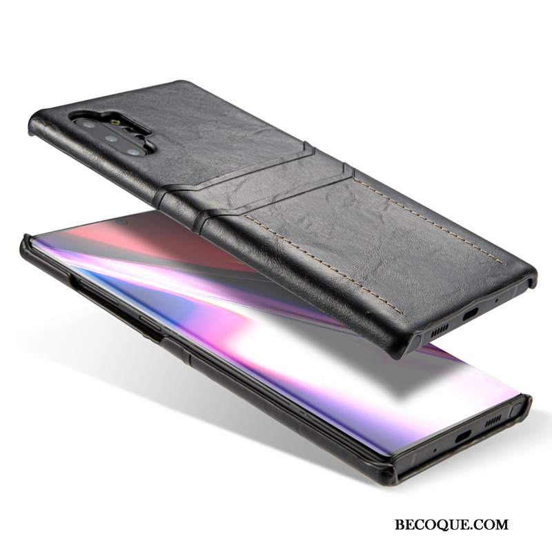 Futerał Samsung Galaxy Note 10+ Skóra Na Telefon Czarny, Etui Samsung Galaxy Note 10+ Ochraniacz