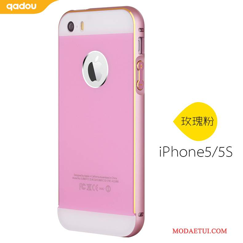 Futerał iPhone 5/5s Metal Tylna Pokrywa Złoto, Etui iPhone 5/5s Granica Tendencja