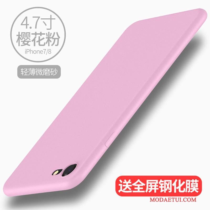 Futerał iPhone 7 Miękki Nowyna Telefon, Etui iPhone 7 Silikonowe Różowe Cienkie