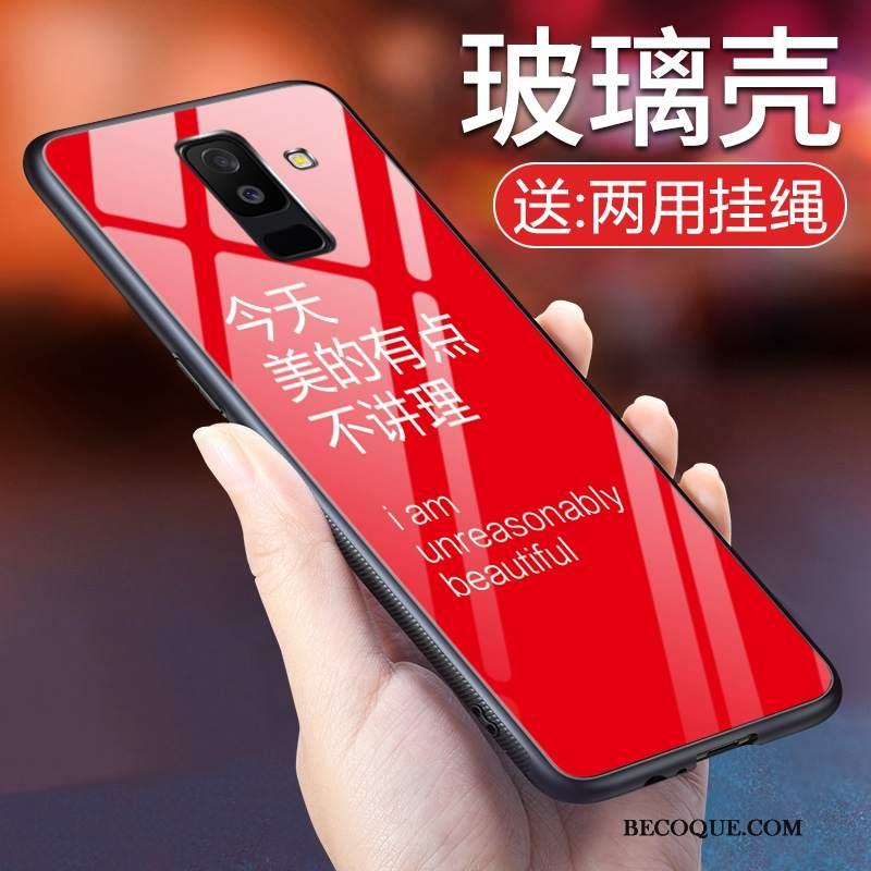 Futerał Samsung Galaxy A6+ Silikonowe Czerwony Netto Szkło, Etui Samsung Galaxy A6+ Na Telefon Modna Marka
