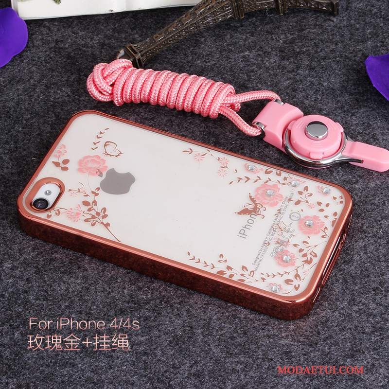 Futerał iPhone 4/4s Silikonowe Anti-fall Różowe, Etui iPhone 4/4s Rhinestone Na Telefon