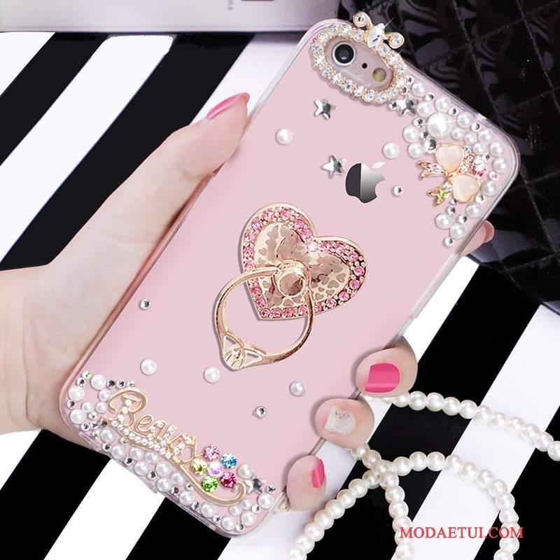 Futerał iPhone 6/6s Miękki Na Telefon Przezroczysty, Etui iPhone 6/6s Rhinestone Różowe